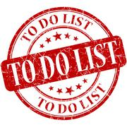 To do list red round grungy vintage rubber stamp Stock Illustration