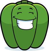Cartoon bell pepper grinning Stock Illustration