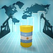 oil barrel with argentinean flag - stock photo