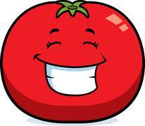 Cartoon tomato grinning Stock Illustration
