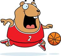 cartoon hamster basketball - stock illustration