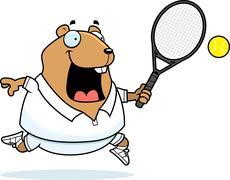 cartoon hamster tennis - stock illustration