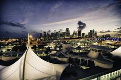 Miami Buildings at Night, Florida Stock Photos