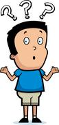 Cartoon boy shrugging Stock Illustration