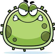 angry germ microbe - stock illustration