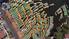 Overhead aerial shot of a pier in Xochimilco - stock footage