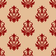 Stock Illustration of beige and maroon floral seamless pattern