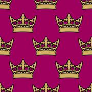 Heraldic seamless pattern with royal crowns Stock Illustration