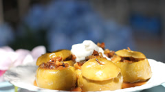 Food Baked Apples Stock Footage