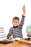 Cheerful Schoolboy ready to answer question Stock Photos