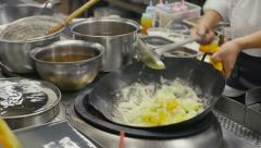 20of27 Asian restaurant with chinese chef cooking food, cook working Stock Footage