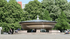 Granite bowl  in front of the Old Museum  in the Berlin Lustgarten Stock Footage