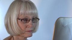 Classy Senior Citizen, mirror - stock footage