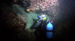 Male model scuba diver looking around in Australia, HD, UP24609 Stock Footage