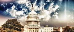 Washington Capitol with Sky and Vegetation - stock photo