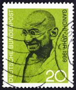 Postage stamp Germany 1969 Mahatma Gandhi - stock photo