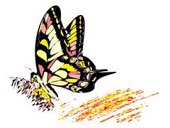colorful hippy butterfly - stock illustration