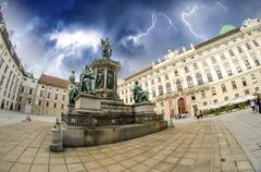 Kaiser Franz I statue in Hofburg - Vienna, Fisheye view Stock Photos