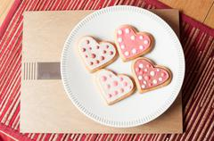 Pink and White Heart Cookies - stock photo