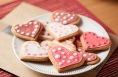 Pink and White Heart Cookies Stock Photos