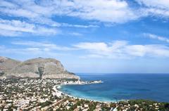 Panoramic view of Mondello's gulf. - stock photo