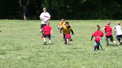 Flag football quarterback run Stock Footage