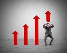 Businessman helps statistic Stock Illustration