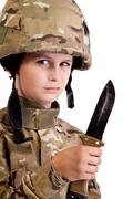 Young soldier with knife Stock Photos