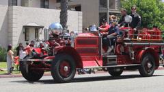 Antique Fire Engine Long Beach Pride Parade Stock Footage
