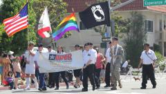 Military LGBT Supporter Flags at Long Beach Pride Parade - stock footage