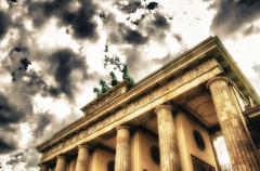 Quadriga sculpture on top of Berlin Brandenburg Gate - stock photo