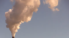 Industrial plant and pollution, flue chimney Stock Footage
