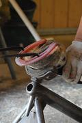 forging horseshoes - stock photo