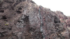 Ocean scenery pans along rock seam down to water, on rocky shore, HD, UP25301 - stock footage