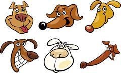 Stock Illustration of Cartoon funny dogs heads set