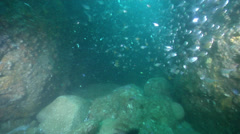 Ocean scenery stop-start as surge affects swimover, in cavern, HD, UP25744 - stock footage