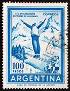 Postage stamp Argentina 1961 Ski Jumper - stock photo