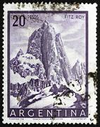 Postage stamp Argentina 1955 Mt. Fitz Roy, Mountain in Patagonia Stock Photos