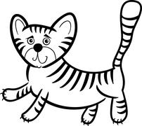 Cartoon tiger for coloring book Stock Illustration