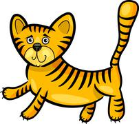 cartoon illustration of little tiger - stock illustration