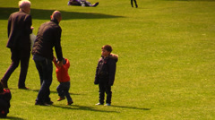 Dad playing with his son at the park Stock Footage