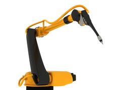 Industrial Robotic Arm Isolated - stock photo