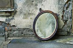 Thrown Out Old Mirror - stock photo