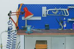 Metal Workbench in Technology Facility Room Stock Photos