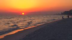 Sunset at the beach with family Stock Footage