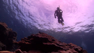 Stock Video Footage of Ocean Scenery | Shallow Coral Reef | Ascending | Wide Shot | Scuba Diver