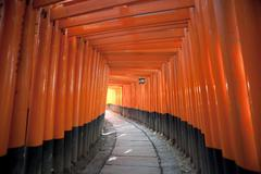 Red Torii Gates Japan - stock photo