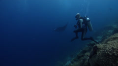Diver focused on primary critter swimming with Reef manta ray in Solomon Stock Footage