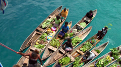Dugout canoe market, HD, UP27463 Stock Footage