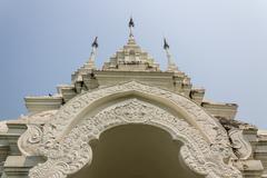 white building molding art in thai style - stock photo